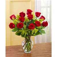 Red-Deluxe-Dozen-Roses-for fall-placed-in-a-vase
