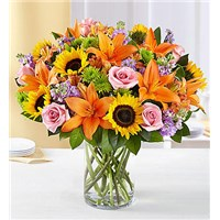 Garden-of-Grandeur-sunflower-pink-rose-lavender-orange-lily-flower-arrangement